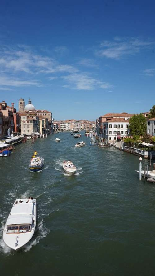 Boats City Water Venice Channel Building Houses
