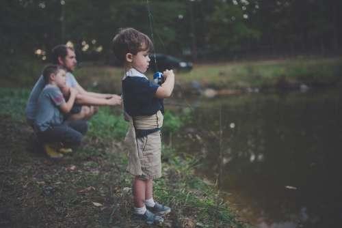 Bonding Boy Children Enjoyment Father Fishing