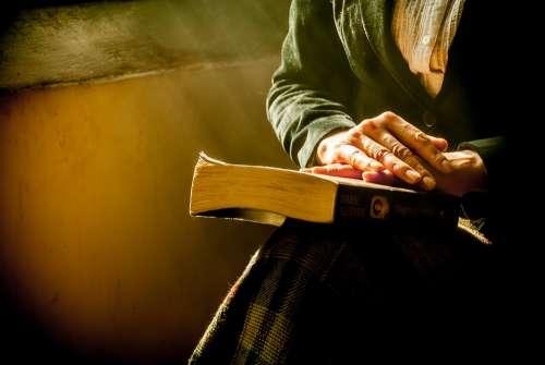 Book Hands Reflecting Bible Praying Women Reading