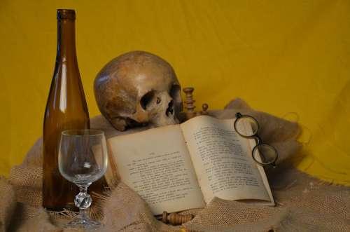 Book Glasses Skull Bottle Glass Brown