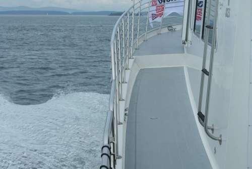 Boat Railing Water Ship Wave Swell Lake