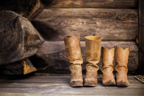 Boots Footwear Rustic Wall Wooden Leather Cowboy
