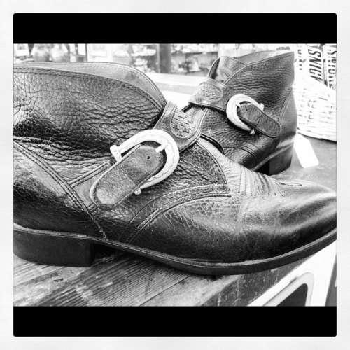 Boots Western Buckle Leather Cowboy Fashion