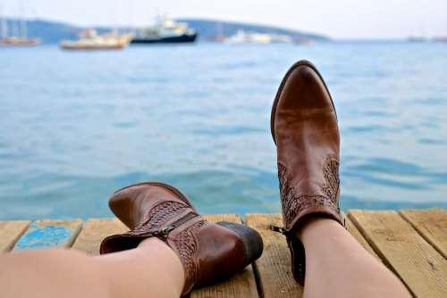 Boots Feet Shoes Footwear Female Person Legs