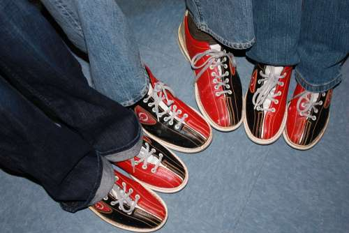Bowling Shoes Red Black Friends