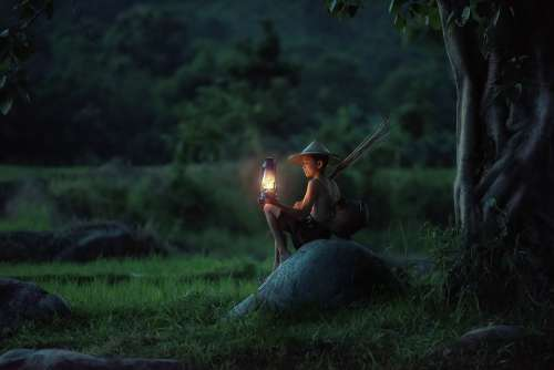 Boy Sitting Lantern Outdoors Asia Vietnam Dawn