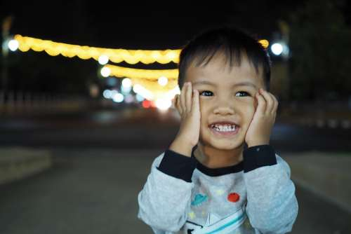 Boy Child Night Smile Asian