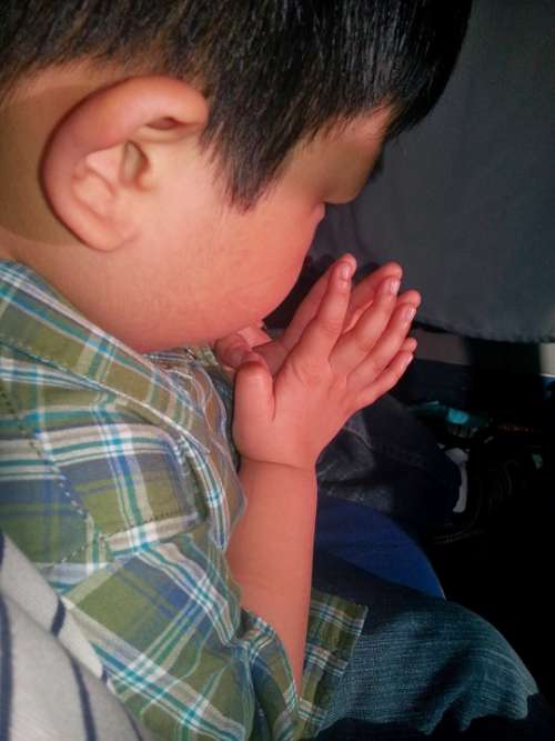 Boy Young Praying Communing Pray Petition Invoke