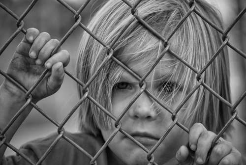 Boy Looking Fence Chain Link Young Child Male