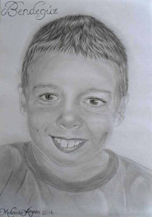 Boy Men'S Person Smile Portrait Drawing Graphite