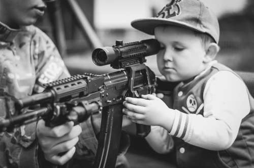 Boy Child Portrait Military Weapon Rifle Shoot