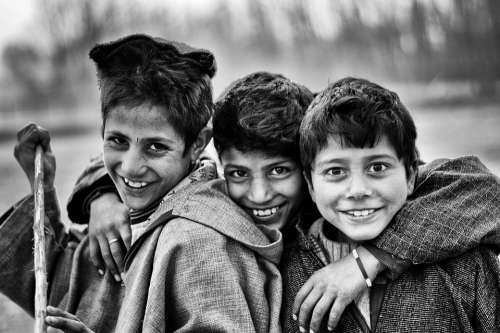 Boys Friends Poor Black And White Eyes Smiling