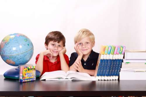 Boys Kids Children Happy Sitting Siblings