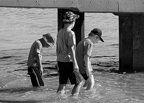 Boys Water Jetty Beach Coast Wading Fun Holiday