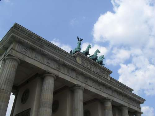Brandenburg Gate Quadriga Berlin Sky
