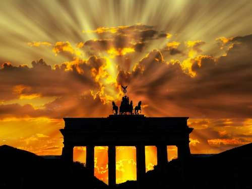 Brandenburger Tor Dusk Dawn Twilight Sunset Berlin