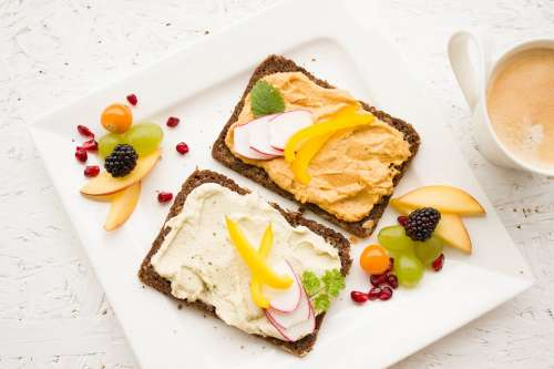 Breakfast Healthy Hummus Spread Whole Wheat Bread