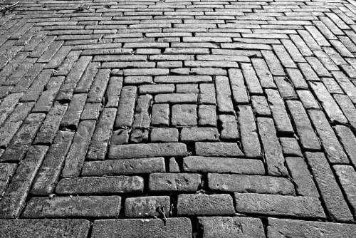 Brick Paving Sidewalk Surface Bricklaying Pattern