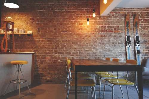 Brick Wall Chairs Furniture Interior Design Lights