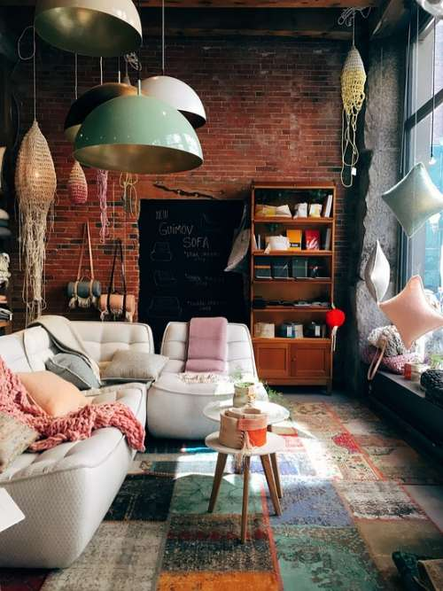 Brick Wall Room Interior Design Furniture