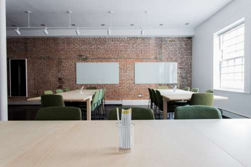 Bricks Chairs Classroom Empty Office Room Tables