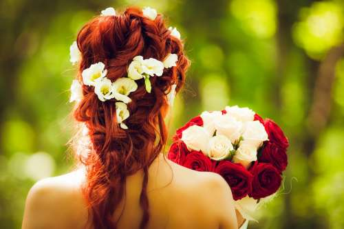 Bride Marry Wedding Red Hair Red Roses