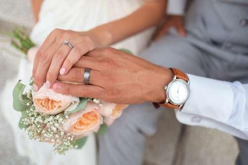 Bride Couple Groom Hands Holding Hands Love Man