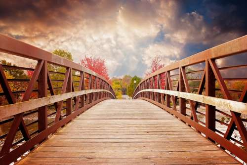 Bridge Nature Fall River Evening Scenic Autumn