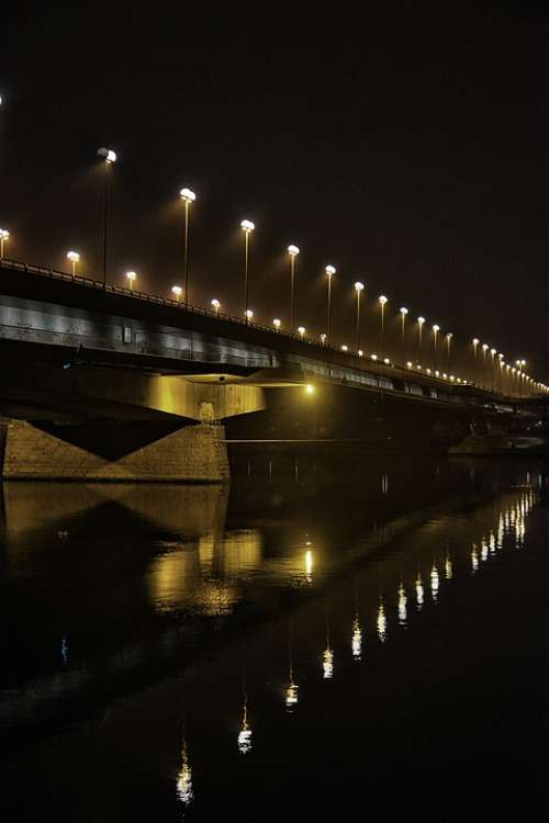 Bridge Stack Austria Vienna Night Danube Tourism