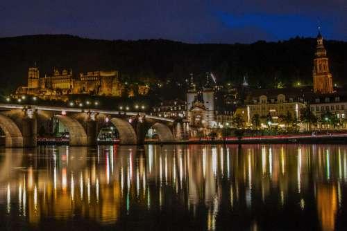 Bridge Heidelberg Germany River City Night Castle