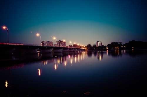 Bridge Light Floor Lamp Night Sky City Reflection