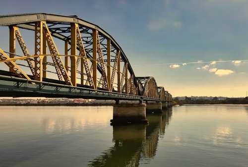 Bridge Railroad Railway Water Sky Tracks Travel