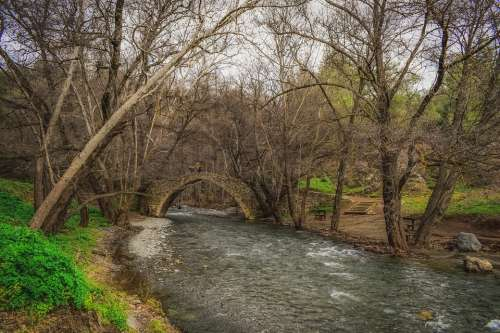Bridge Old Architecture River Stones Trees