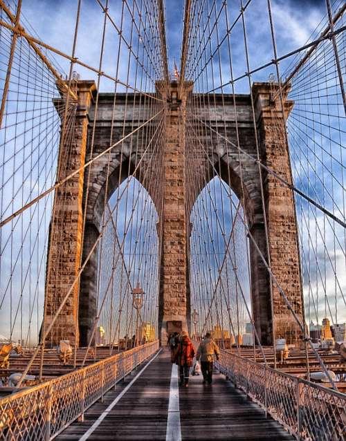 Brooklyn Bridge Suspension Bridge Landmark Historic