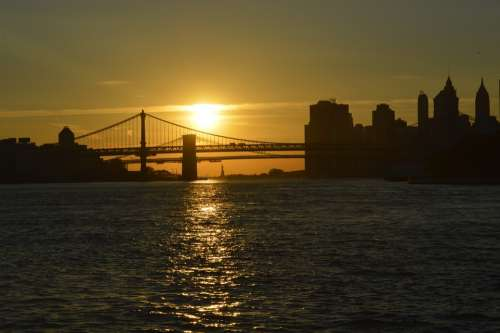Brooklyn Bridge Sunset Bridge Sea Usa New York