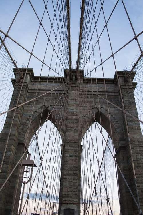 Brooklyn Bridge Bridge City Manhattan Urban Usa