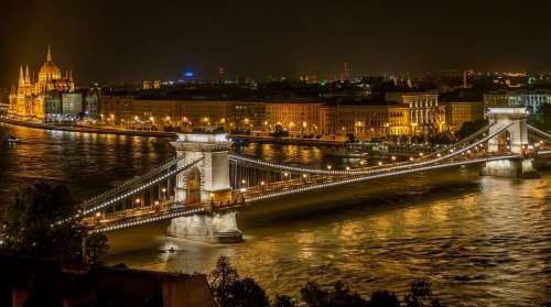 Budapest Bridge Water Chain Bridge Panorama River