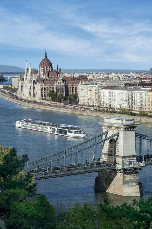 Budapest Bridge Water Architecture Chain Bridge