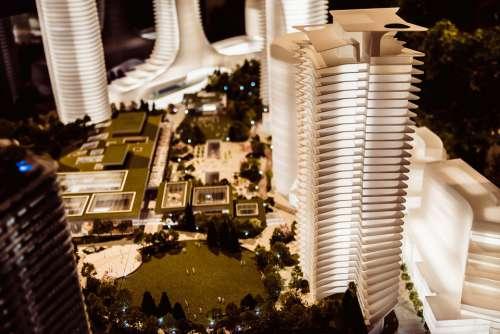 Building Model Architecture Modern Urban Street