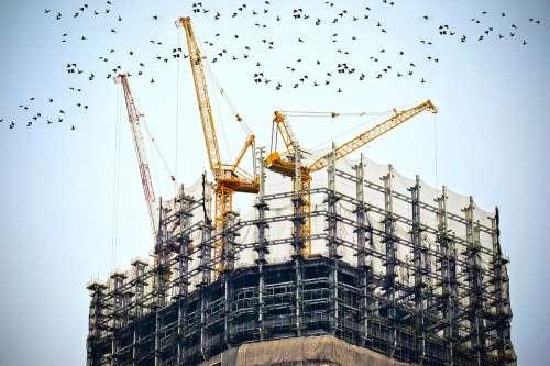 Building Construction Site Cranes Architecture