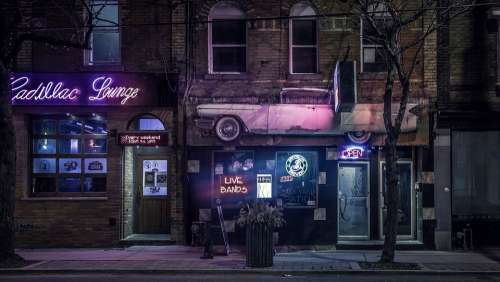 Buildings Night Urban Neon Sign Cadillac Lounge