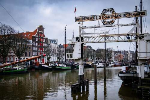 Buitenland Dordrecht Holland City Port Boats