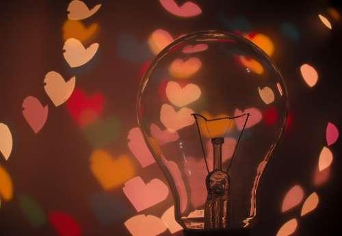 Bulb Light Bulb Dark Hearts Lights Macro