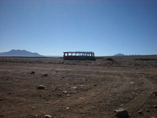 Bus Destroyed Atacama Travel Landscape Trip