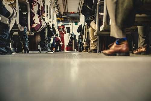 Bus Transportation People Aisle Shoes Seats