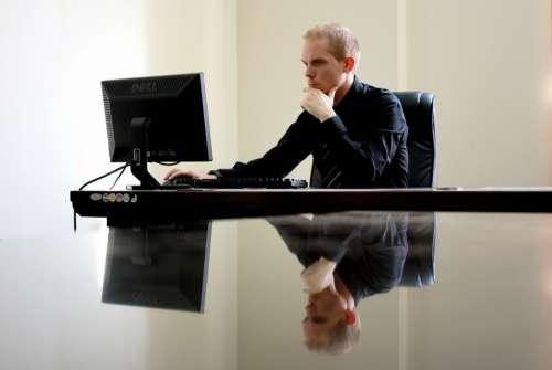 Business Businessman Chair Computer Desk Desktop