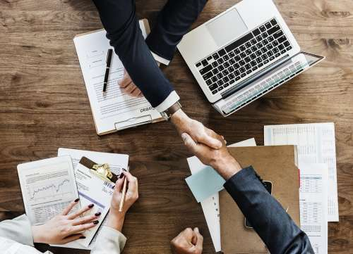Business Paperwork Deal Agreement Handshake Office