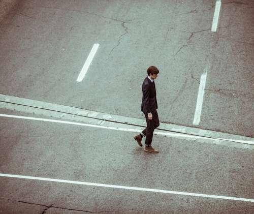 Businessman Lonely Alone Individual Man Walking