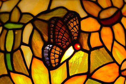 Butterfly Tiffany Glass Hell Light Colorful