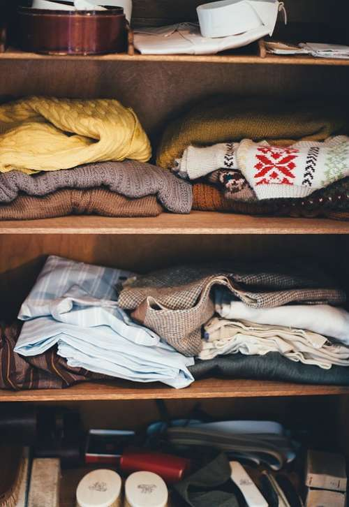 Cabinet Clothes Garments Shelves Wardrobe